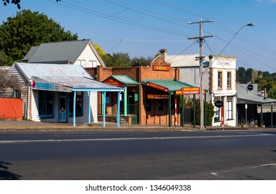 DAYLESFORD, VICTORIA, AUSTRALIA - 16 MARCH 2019: Rural street scene of shop fronts in the popular tourist town of Daylesford in Victoria's Spa Country.