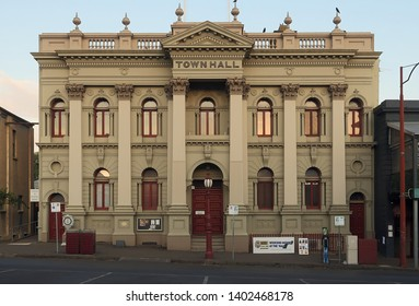 DAYLESFORD, VICTORIA, AUSTRALIA - 17 MARCH 2019: The stately facade of the historic Daylesford Town Hall is a central hub of the popular tourist town.