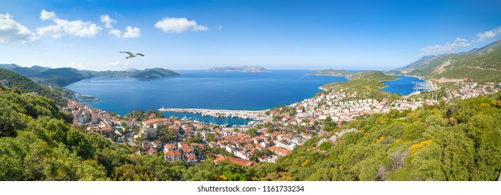 Daylight aerial panoramic view of resort town Kas in Turkey. Kas is small fishing, diving, yachting and tourist town in district of Antalya Province, Turkey.