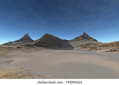 Daylight in the desert, 3D rendering, a martian landscape, rocks, stones and a blue sky.