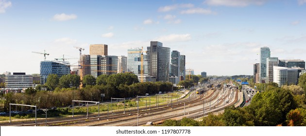 daylight panoramic view of Zuidas the business and financial zone of Amsterdam , Netherlands.