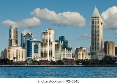 Daylight photograph of the San Diego skyline.