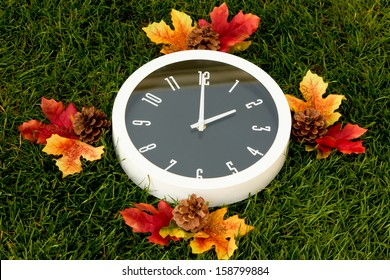 Daylight Saving Daylight saving clock, set at 2 a.m.  A white clock surrounded by fall leaves, the background of the image is dark green grass.