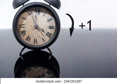 Daylight Saving Time. DST. Turn time forward. Abstract photo of changing time at spring.