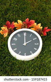 Daylight Saving Time Fall Clock Fall daylight saving time clock, the background of the image is dark green grass.  The top of the white clock has fall leaves and pine cones.