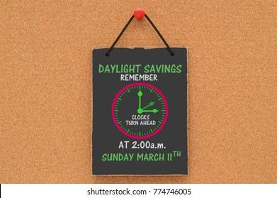 Daylight Savings Remember clocks turn ahead at 2:00 a.m. Sunday March 11th Blackboard Sign hanging on cork board background