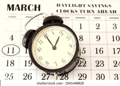 Daylight Savings Spring Forward sunday at 2:00 a.m. March 11 date indicated in the calendar