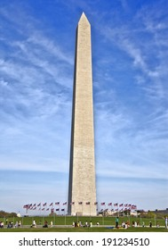 Daylight side view of Washington Monument in Washington, DC, capital city of the USA.