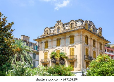 Daylight view to ancient old apartments or hotel in Rapallo, Italy. Cinque Terre beauties