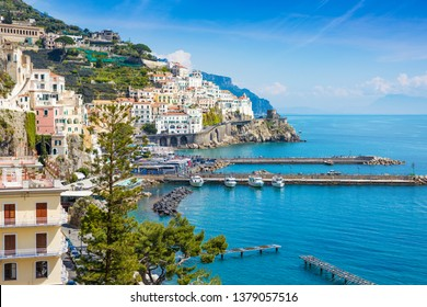 Daylight view of beautiful seaside city Amalfi in province of Salerno, region of Campania, Italy.