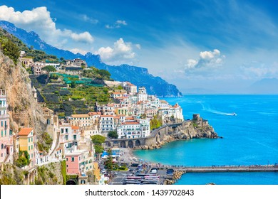 Daylight view of beautiful seaside city Amalfi in province of Salerno, in region of Campania, Italy. Amalfi coast on is popular travel and holyday destination in Europe.