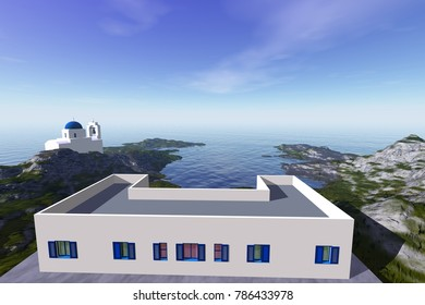 Daylight in white buildings, 3D rendering, an island landscape, a beautiful sea and a blue sky.