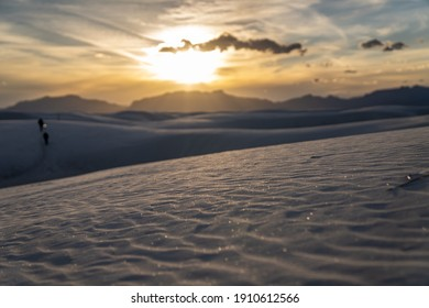 The day's last light reflecting off the dunes in White Sands National Park.
