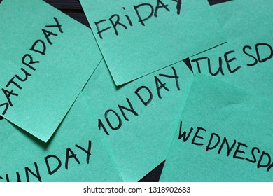 Days of the week on stickers