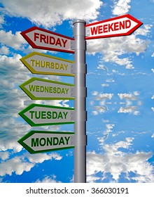 days of the week, weekend sign, clouds sky, directions