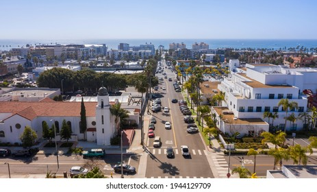Daytime aerial view of the downtown city area of Oceanside, California, USA.