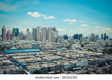 Daytime of Bangkok city. Bangkok is the capital and the most populous city of Thailand. , process in vintage style
