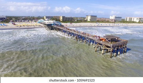 Daytime Cocoa Beach Pier aerial view, Cape Canaveral, Florida