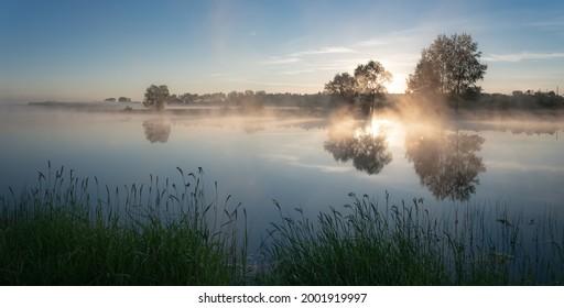 Tageslandschaft mit Bäumen am Ufer des Ural River, Russland Juni