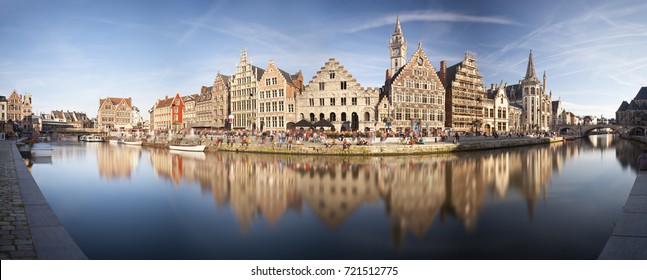 Daytime long exposure panorama of the famous canal view at Graslei in Ghent, Belgium.