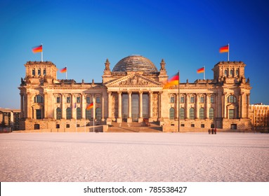 Daytime long exposure shot of the Reichstag in Berlin, Germany.
