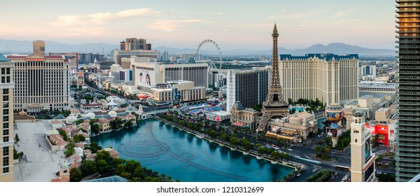 Daytime panorama of the Bellagio Lake and Las Vegas Boulevard in Las Vegas, Nevada, USA on the 13th August 2018