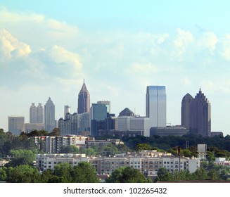 Daytime shot of Atlanta Georgia with cloudscape.