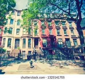 Daytime street scene of the borough of Brooklyn in New York City