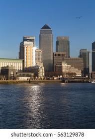 A daytime view of buildings at Canary Wharf, London, England, taken from the Thames Path at Shadwell, 01/19/2017.
