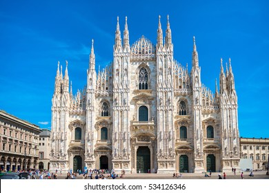 Daytime view of famous Milan Cathedral (Duomo di Milano) on piazza in Milan, Italy