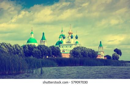 daytime view of Saint Jacob Savior monastery from Nero lake in Rostov, Russia