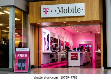 Dayton - Circa April 2018: T-Mobile Retail Wireless Store. Deutsche Telekom is T-Mobile's majority shareholder I