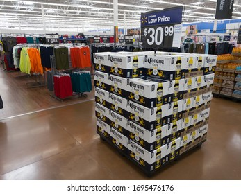 DAYTON, OH - APRIL 3: Stacks of Corona Extra Beer in Walmart Superstore during COVID-19 quarantine in Dayton, Ohio on April 3, 2020.