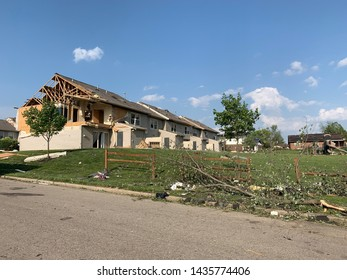 Dayton, OH- May 27, 2019: Aftermath of Memorial Day Tornados in Beavercreek Buildings utterly demolished. Community uprooted by storm. Neighborhood in shambles.