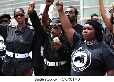 Dayton, OH / United States - May 25 2019: 600 protestors including Antifa and the Black Panther Party showed up to rally against reported 9 KKK members from Indiana who were having a march downtown