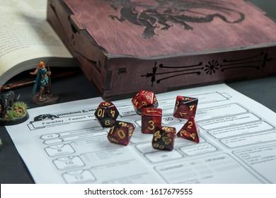 Dayton, OH, USA 2020-01-05: Set of red Dungeons & Dragons dice