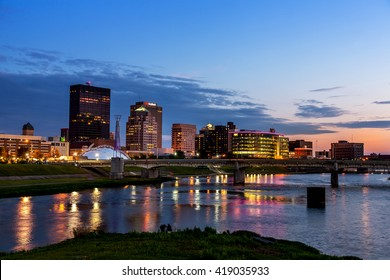 DAYTON, OHIO - 11 JUNE, 2013: A view of the skyline of Dayton, Ohio at sunset.