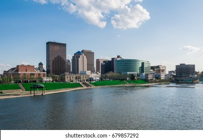 DAYTON, OHIO - April 4: City skyline with Riverscape MetroPark on April 19, 2017 in Dayton, Ohio. Dayton is the home of Wright State University facing financial challenges in 2017.