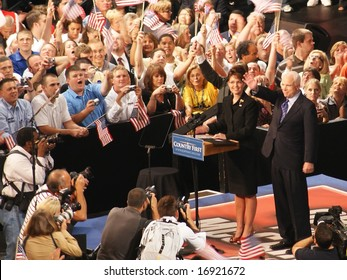DAYTON OHIO - AUGUST 29 : McCain and Palin wave to crowd in Dayton Ohio August 29, 2008 at WSU Nutter Center.