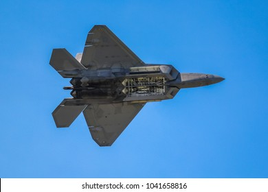Dayton, Ohio - July 18, 2016: F-22 Raptor Demonstration Showing Open Weapons Bay - Dayton Air Show