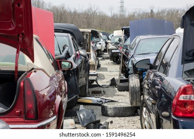 DAYTON, OHIO - JUNE 1: Smashed and wrecked cars at junk yard in Dayton, Ohio on June 1, 2019.