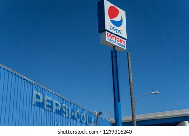 Dayton, Ohio, June 4 2018: Pepsi sign by downtown factory