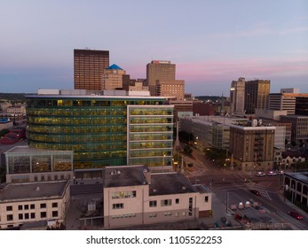 DAYTON, OHIO - JUNE 4: Establishing shot of city buildings downtown evening sunset in Dayton, Ohio on June 4, 2018.