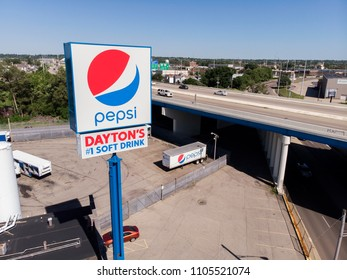 DAYTON, OHIO - JUNE 4: Pepsi Beverages Distribution plant with large sign for 1 Soft Drink in Dayton, Ohio on June 4, 2018.