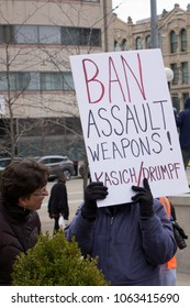 DAYTON, OHIO - MARCH 24: 'Ban Assault Weapons!' signat March for Our Lives gathering in downtown Dayton, Ohio on March 24, 2018.