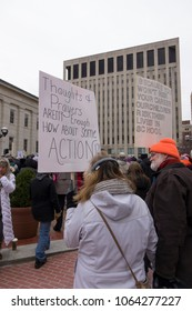 DAYTON, OHIO - MARCH 24: People holding signs in Courthouse Square at March for Our Lives gathering in downtown Dayton, Ohio on March 24, 2018.