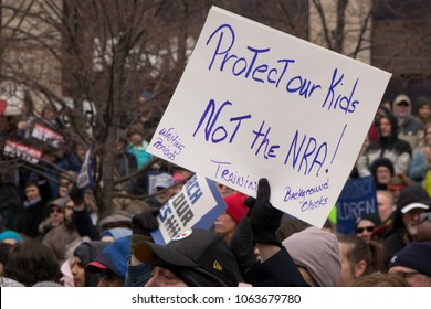 DAYTON, OHIO - MARCH 24: Protect our Kids not the NRA sign at March for Our Lives gathering in downtown Dayton, Ohio on March 24, 2018.