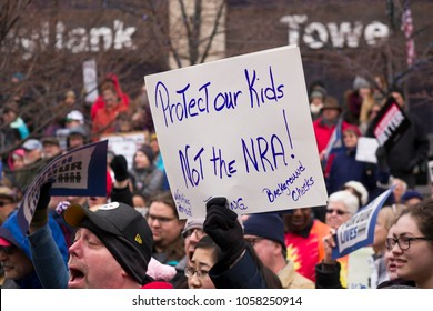 DAYTON, OHIO - MARCH 24: Sign reading 'Protect our Kids Not the NRA' at March for Our Lives gathering in downtown Dayton, Ohio on March 24, 2018.