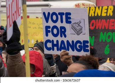 DAYTON, OHIO - MARCH 24: 'Vote For Change' sign at March for Our Lives gathering in downtown Dayton, Ohio on March 24, 2018.