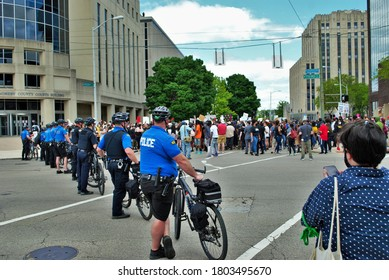 Dayton, Ohio United States 05/30/2020 police officers controlling the crowd at a black lives matter protest